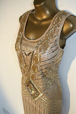 GOLD NUDE CHARLESTON FLAPPER uk 8 12 14 16 GATSBY dress 20's ART DECO