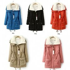 Winter Women's Lamb Wool Collar Furry Lined Korean Warm Long Jacket Trench Coats
