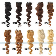 100s 1g/s Loop Micro Ring Beads Real Body Wave Curly Remy Human Hair Extensions
