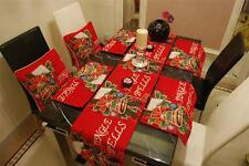 SET RED CHRISTMAS JINGLE BELL TAPESTRY THROW PILLOW CASES TABLE RUNNER PLACEMATS