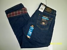 DICKIES Relaxed Straight Fit Flannel-Lined Jean DD217 STONE WASH BLUE WARM NWT