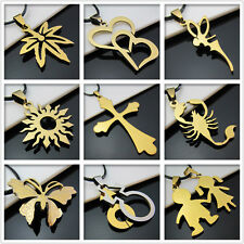 New Unisex's Men Gold Stainless steel Fine Pendant Necklace Bracelets More style