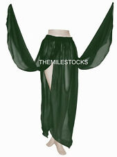 TMS D GREEN 4 Petal Skirt Belly Dance Penal TRIBAL Gypsy Costume Club JUPE DANSE