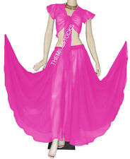 TMS ORCHID Full Circle Skirt + Ruffle Top Belly Dance Costume Gypsy JUPE HAUT
