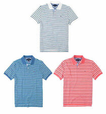 NWT MEN'S TOMMY HILFIGER CLASSIC POLO SHIRT TOP WHITE BLUE CORAL STRIPED M L NEW