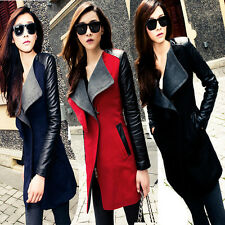 Autumn Womens Wool Synthetic Leather Long Coat Jacket Trench Parka Outwear