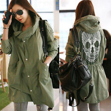 New Women Outerwear Military Parka Button Trench Skull Back Hooded Jacket Coat