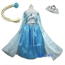Halloween Xmas Girls Frozen Elsa Princess Costume Bling Cape Party Dress 2-10Y