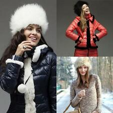 Faux Fur Russian Hat Womens Ear Warm Winter Beret Cap Earflap Hat w/Balls Beanie