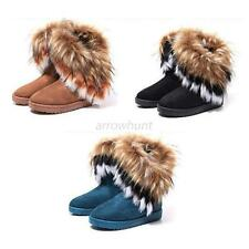 Trendy Winter Womens Suede Snow Ankle Boots Warm Faux Fox Fur Tassel Flat Shoes