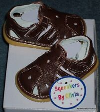 New Brown Genuine Leather Squeaky Sandals Shoe Baby Toddler Boy Sizes 3 6 7 8