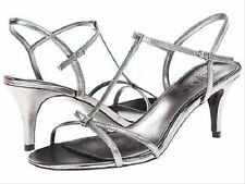 NEW RALPH LAUREN WOMENS NYAH T-STRAP DRESS SANDALS SHOES SILVER/PEWTER LEATHER