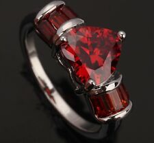 Heart Love Fashion Jewelry Garnet Gemstones Silver Rings US#Size5 6 7 8 9 T0142