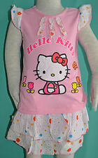 NEW Girl Hello Kitty two pieces Top & Skirt Pink sets sizes 1,2,3,4,5,6