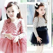 2-7Y Kids Baby Girls Long Sleeve Tutu Dress Polka Dot One-piece Lace Tulle Skirt