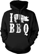 I Pig BBQ Love Bar-B-Que Pork Bacon Funny Humor Joke Cookout Hoodie Pullover