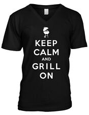 Keep Calm and Grill On Master BBQ Bar-B-Que Charcoal Propane Mens V-neck T-shirt