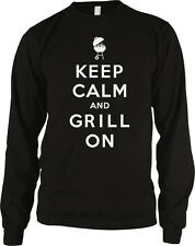 Keep Calm and Grill On Master BBQ Bar-B-Que Charcoal Propane Long Sleeve Thermal