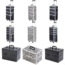 Pro Aluminum Rolling Makeup Train Case Salon Cosmetic Organizer Trolley New