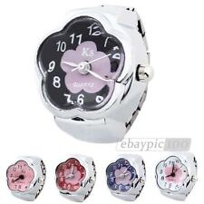 Ladies Quartz Movement Ring Watch Alloy Band Arabic Numerals Flower Dial