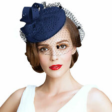 A195 Ladies Hollow Felt Wool Veil Fascinator Cocktail Formal Racing Wedding Hat