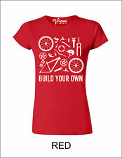 BIKE PARTS BUILD YOUR OWN Womens T-shirt MTB ROAD BMX Cycling Clothing Retro NEW
