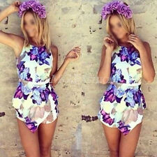NEW Womens Sexy Sleeveless Bodycon Flower Printing Jumpsuit Romper Trousers Club