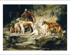 "FREDERICO OLARIA ""Hunting Scene with Borzois"" LISTENING man dogs CANVAS PRINT"