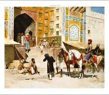EDWIN LORD WEEKS Mosque Vazirkham, Lahore ISLAMIC horses gold NEW CANVAS PRINT