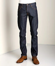 NUDIE JEANS DENIM CO HANK REY ORGANIC DRY DEEP INDIGO RAW RIGID DRY ITALY $200+