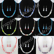 Jewelry Crystal Faceted Lampwork Glass Column Beads Necklace Earrings SET BM071
