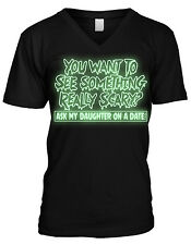 GLOW IN THE DARK Halloween Ask My Daughter On A Date Scary Mens V-neck T-shirt