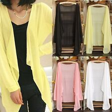 Women Lady Open Front Draped Solid Cardigan Shawl Long Sleeve Tops Shirt Outwear
