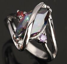 Rainbow Topaz Morganite AWESOME Gems Wamen's Silver Rings US#Size5 6 7 8 9 T0643