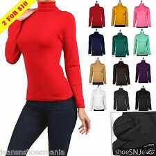 New Basic Long Sleeve Soft Seamless Stretch Turtle High Neck Top Slim Fit Shirts