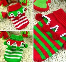 CUTE POM POM DOG PUPPY CHRISTMAS KNITTED WARM WINTER SWEATER PET CLOTHES JUMPER
