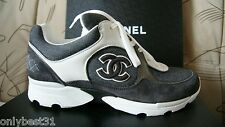 NIB CHANEL Cruise Grey Canvas Suede White CC Trainer Sneakers Size IT 35 - IT 42