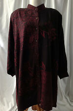BEAUTIFUL LONG RED AND BLACK PLUS SIZE BUTTON SHIRT! 3 DIF SIZES! lot#R24