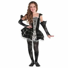 Girls Gothic Midnight Mischief Spider Web Tutu Halloween Fancy Dress Costume New