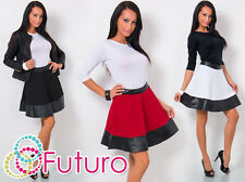 Womens Skater Flared Pleated Mini Skirt Eco Leather Stretch Waist Size 8-12 8347