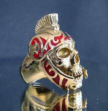 ARTWORK BIKER BRONZE RING ROMAN LEGION GLADIATOR WARRIOR SKULL DARK RED ANY SIZE