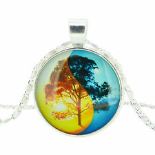 "Vogue Women Colorful ""Tree"" Image Round Glass Cabochon Chain Pendant Necklace"