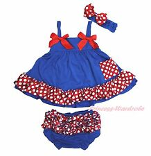 Newborn Baby Girl Minnie Dots Royal Blue Swing Top Bloomer Outfit Set NB-2Y