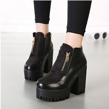 Womens Skull Zip Chunky Heels Pumps Platform Cleated Sole Ankle Boots Booties