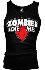 Zombies Love Heart Me Joke Funny Humor Pun Halloween Boy Beater Tank Top