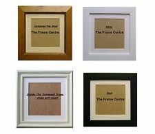 Square Picture Frame & Mount Shabby  Cream  Pine Black White 6x6 7x7 8x8Mount