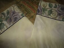 CROSCILL CHAMBORD CASSIS (PAIR) KING PILLOWCASES AMETHYST FLORAL SAGE COTTON