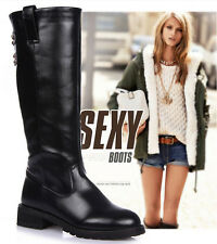 New Women's PU Leather Mid Calf Boots Flat Heels Riding Boots Round Toe Pull On