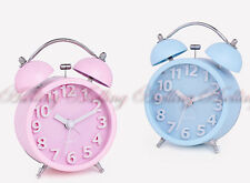 Colorful Vintage Metal Twin Double Bell Table Alarm Clock Quiet New,two Colors