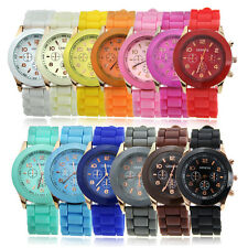Fashion Women Girl's Geneva Silicone Jelly Gel Quartz Analog Sports Wrist Watch